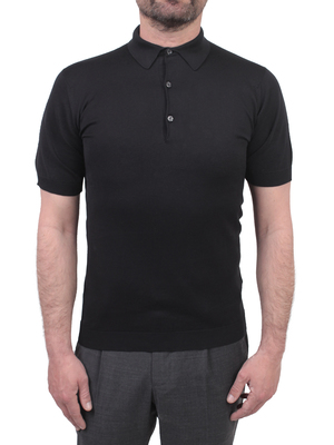 polo shirt john smedley adrian sea island cotton black